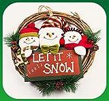 【ELEEJE】クリスマスのプレートを持った 可愛い 雪だるま達の マスコットが とっても キュートな クリスマス リース