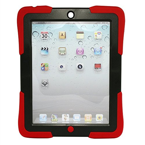 Armor Series Ipad 4/3/2 Extreme-Duty Military Hybrid Shockproof & Drop Resistant Anti-Slip Soft Silicone Case Cover With Kickstand And Built-In Screen Protector For Apple Ipad 2 Ipad 3 Ipad 4 (Red) front-47147