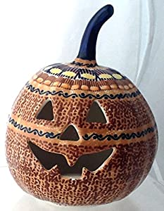 "7"" Polish Pottery Stoneware Pumpkin Halloween Jack-o'-lantern Unikat KLJ October Sunrise"