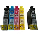 5 Double Capacity Compatible Ink Cartridges for Epson S22 SX125 SX130 SX230 SX235W SX420W SX425W SX430W SX435W SX438W SX440W SX445W BX305F BX305FW Printer --- 2 Black 1 Cyan 1 Magenta 1 Yellow