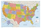 House of Doolittle Laminated United States Map, 38 x 25 Inch with Write On/Wipe Off Feature, Recycled (HOD721)
