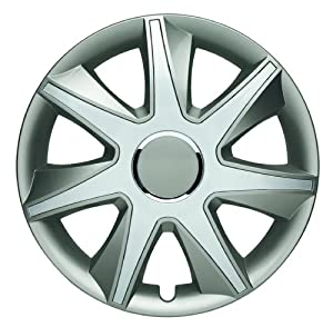 Albrecht 49455 Run I Gloss Grey/Silver Plus 15″ Wheel Cover, (Set of 4)