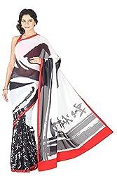 Pandora Design text Black,White and Red saree