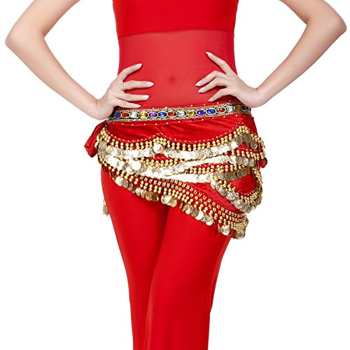 Happy Dance Rose red 250coins belly dance Hip Scarf professional dance costume