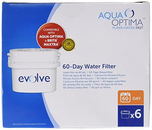 Aqua Optima Evolve Double Life - Cartuccia filtrante per caraffa Brita Maxtra, 60 giorni, 12 pezzi (confezione per 2 anni)