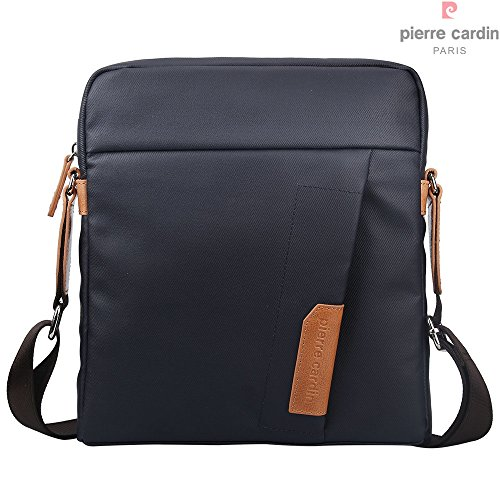 Pierre Cardin casuale sacchetto impermeabile iPad tela rivestita e vera pelle borsa Messenger Bag (iPad Borsa, Blu Scuro e Marrone)