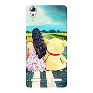 Delighted Girl Teddy Multicolor Back Case Cover for Lenovo A6000