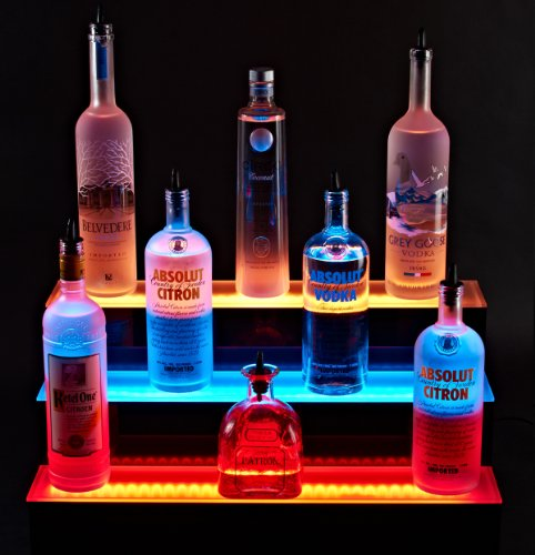 3 Tier Led Lighted Liquor Bottle Display Shelf 4' Long , 3 Step Bar Bottle Shelving