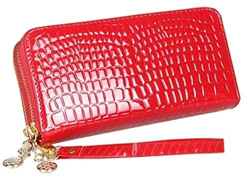 oulinbein-womens-double-zipper-alligator-grain-wallet-clutch-purse-pu-red
