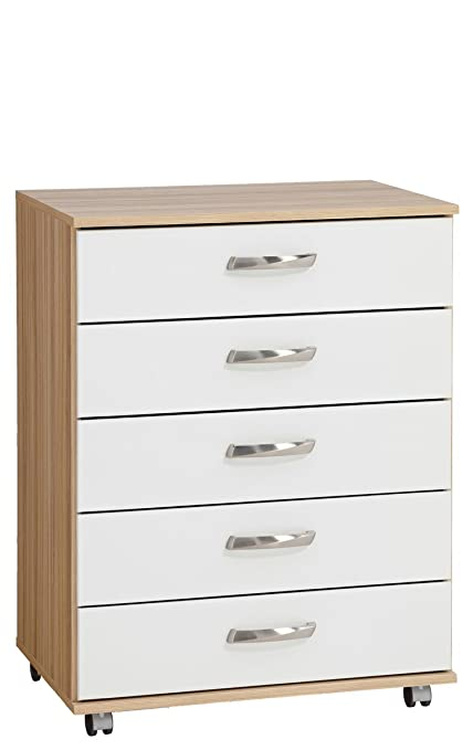 Treat Your Home Rebello 5 Drawer Chest, Wood, Sonoma Oak Carcuss/White Gloss Fronts