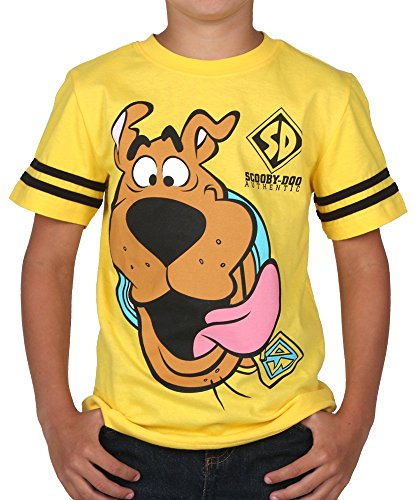 Scooby Doo Little Boys' Scooby Face Short Sleeve Tee, Bright Yellow, 7 front-328469