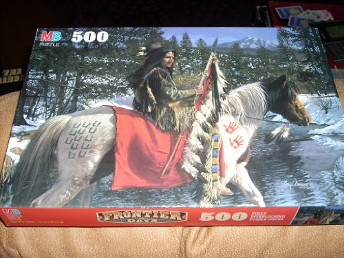 Vintage puzzle - Frontier Days - HIS LAND - Native American on horse in traditional dress - 500 Fully interlocking puzzle pieces - 1996 Milton Bradley (Frontier Days, His Land) (Indian Paint Dvd compare prices)