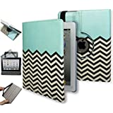iPad Air Case - Bastex Heavy Duty 360 Swivel Rotating Stand Case - Blue Design and Chevron Pattern with Smart Sleep/Wake Function for Apple Air