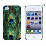 Peacock Feather Embossed Hard Case for Apple iPhone 4, 4S (AT&T, Verizon, Sprint) - Includes DandyCase Keychain Screen Cleaner [Retail Packaging by DandyCase]