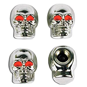 Custom Accessories 16220 Tire Valve Caps Chrome Skull Style