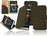 Burkley BOOK-BK2-M7 Leather Book-Style with Card Compartments and Stand for HTC One (M7) Stone Washed Brown