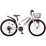 KAZATO(カザト)24インチシマノ6段変速スチール製子供用マウンテンバイク[ダイナモライト/ワイヤーカゴ/後輪リング錠標準装備]BKZ-246 ホワイトレッド