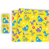 Childrens Luxury Gift Wrap x 2 Sheets & 2 Tags Dinosaur