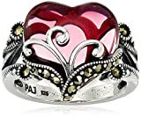 Sterling Silver Oxidized Marcasite and Garnet Colored Glass Filigree Heart Ring, Size 7