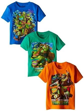 Nickelodeon Little Boys' Ninja Turtles 3 Pack Tees, Assorted, 4