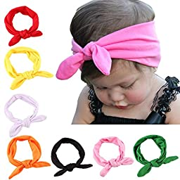 Hip Mall® Cute Baby Rabbit Ear Headband Hair Bands Newborn Headbands, Pack of 8