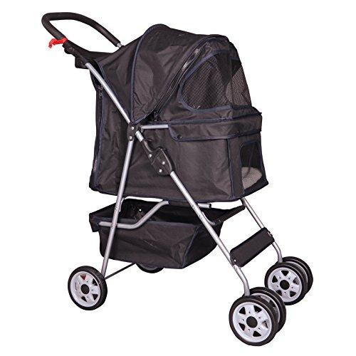 BestPet Black 4 Wheels Pet Stroller Cat Dog Cage Stroller Travel Folding Carrier 04T