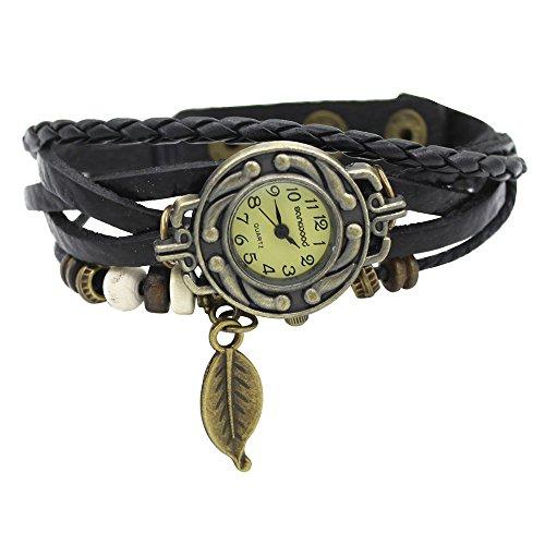 damen-retro-baum-blatt-leder-armkette-armband-armbanduhr-uhren-uhr-watches-schwarz