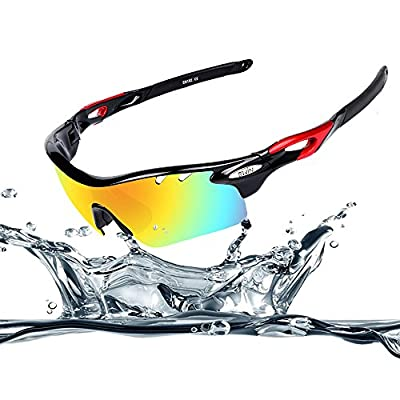 Ewin E11 Polarized Sports Sunglasses with 4 Interchangeable Lenses for Men Women Golf Baseball Volleyball Fishing Cycling Driving Running Glasses, TR90 Unbreakable Frame, Waterproof, Anti-fog Lens