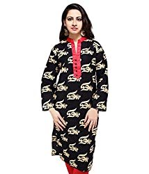 Sarva Women's Cotton Kurta (sc-0120284_Black&Red_46)