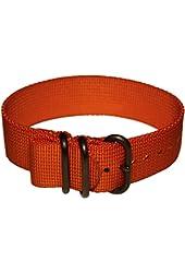 """USCG Orange Non-Glare PVD Heavy Duty Replacement Nylon Watch Band Strap 22mm or 7/8"""" Bertucci"""