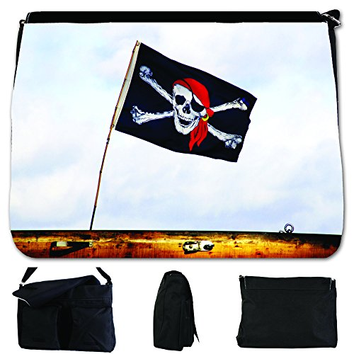 Fancy A Bag Borsa Messenger nero Jolly Roger Pirate Flag Flying High In Wind