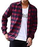 マイノリティセレクト(MinoriTY SELECT) ネルシャツ メンズ チェック ネル シャツ 長袖 赤 黒 L D柄(14)