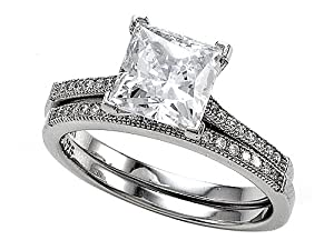Zoe R(tm) 925 Sterling Silver Micro Pave Hand Set Cubic Zirconia (CZ) Princess Cut Center Wedding Set Size 7