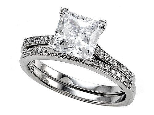Zoe R(tm) 925 Sterling Silver Micro Pave Hand Set Cubic Zirconia (CZ) Princess Cut Center Wedding Set