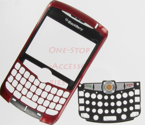 New RIM BlackBerry Curve 8300 8310 8320 Original OEM Faceplate with Lens, Trackball & Keyboard Red Color Front Cover Face Plate Case Part AT&T T-Mobil