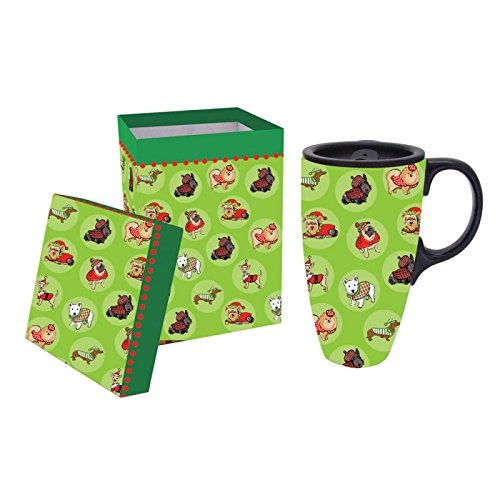 Evergreen Cypress Home Show Naughty Or Nice Dog Christmas Ceramic Latte 17Oz.Travel Coffee Cup With Matching / Gift Box