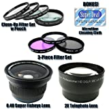 Professional High Definition Super Fisheye Lens + 2X Telephoto Lens + 1 + 2 + 4 + 10 Close-Up Filter Set with Pouch + High Resolution 3-piece Filter Set (UV Fluorescent Polarizer) For The Nikon D50,D70,D70s,D100 Which Have Any Of These Nikon Lenses 35mm 1