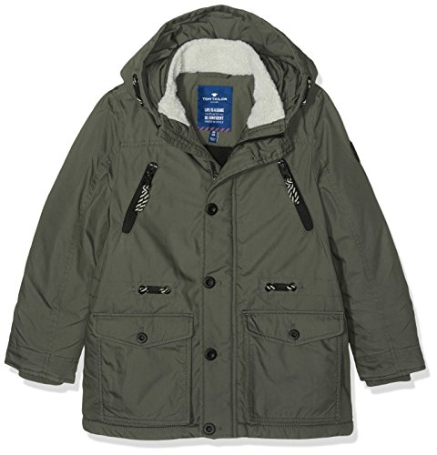 TOM TAILOR Kids urban track parka, Giacca Bambino, Verde (grey olive green), 140