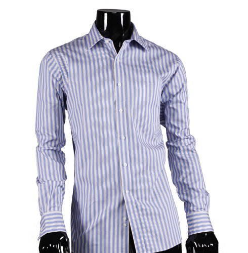 Michael Kors Men's 100% Cotton Regular Fit CornFlower Blue Pin Stripe Dress Shirt Picture