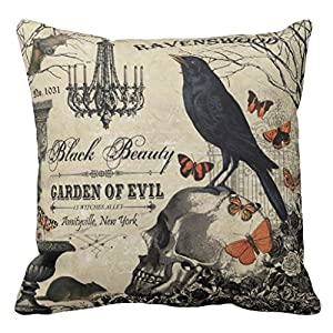 Accent Pillows for Sofa Modern Vintage Halloween Crow and Skull Pillows Cove Pillow Protector from Fiuoleiw