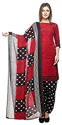 Divyaemporio Women'S Faux Cotton Red And Black Salwar Suits Dress Material