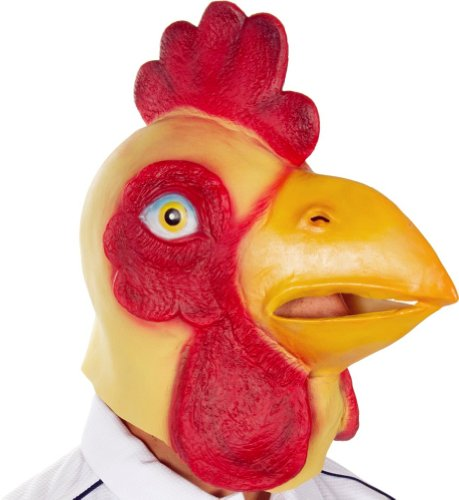 Gmask Latex Chicken Head Mask Costume