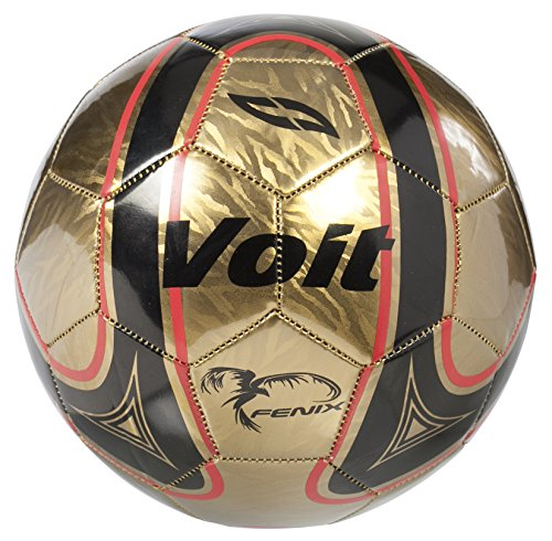 Voit Size 5 Fenix Deflated Soccer Ball, Gold and Black Graphic with Red Accents