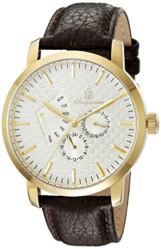Burgmeister Men's Quartz Watch with Beige Dial Analogue Display and Black Leather Bracelet BM219-295
