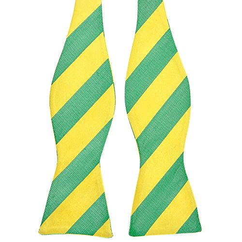 PenSee 100% Silk Mens Self Bow Tie Trendy Stripe Green & Yellow Bow Ties (Trendy Bow Ties compare prices)