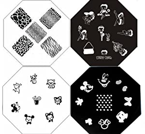 beliebte charaktere nagel kunst polnisch stempel manicure speicherfolien set kit 4 st ck. Black Bedroom Furniture Sets. Home Design Ideas