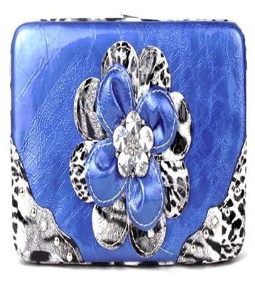 Leopard Blue Flower Clutch Opera Wallet