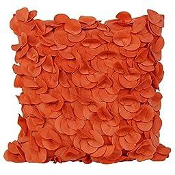 Puredown Plush Pillow Shell Sofa Cushion Covers Handmade Petals Square 18X18 inch Orange