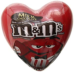 M&M's Milk Chocolate Filled Heart Tins, 1 Ounce (Pack of 12)