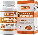 Cápsulas de cúrcuma orgánica certificada con Bioperina (pimienta negra) de G-Biotics ~ Suplemento EXTRA de ALTO GRADO